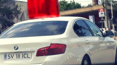 SV 18 ICL – numarul de inmatriculare interzis in Romania, fotografiat la un BMW in Suceava