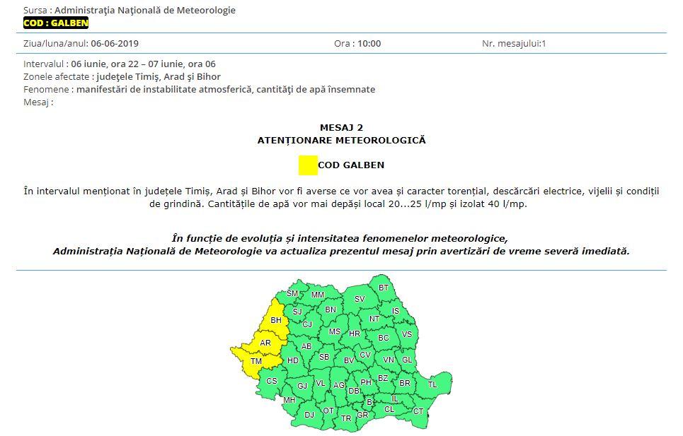 Harta și avertizarea ANM care vizează județele Bihor, Arad și Timiș