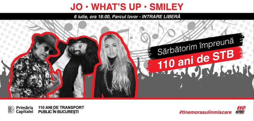 Smiley i What 's Up, cap de afiș la programul organizat de Primăria Capitalei pentru aniversarea a 110 a STB
