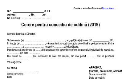 3 modele de cereri pentru concediu. Cum trebuie să arate. Model PDF