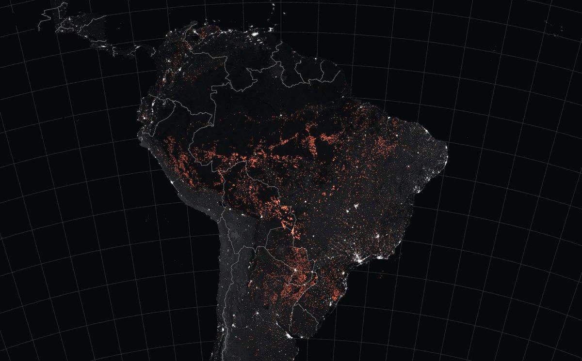 Harta Americii de Sud pe care se văd incendiile.