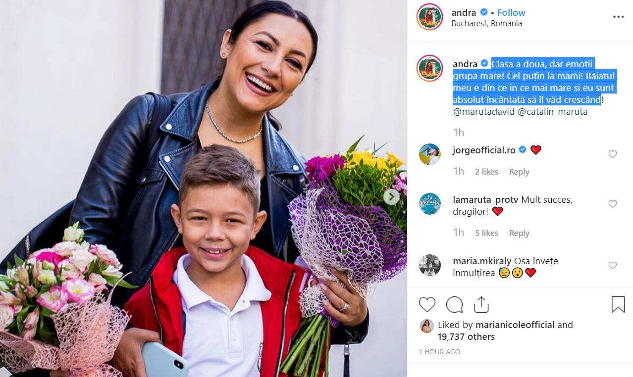 Andra, alături de David. Cântăreața a fost prezentă alături de băiatul ei în prima zi de școală