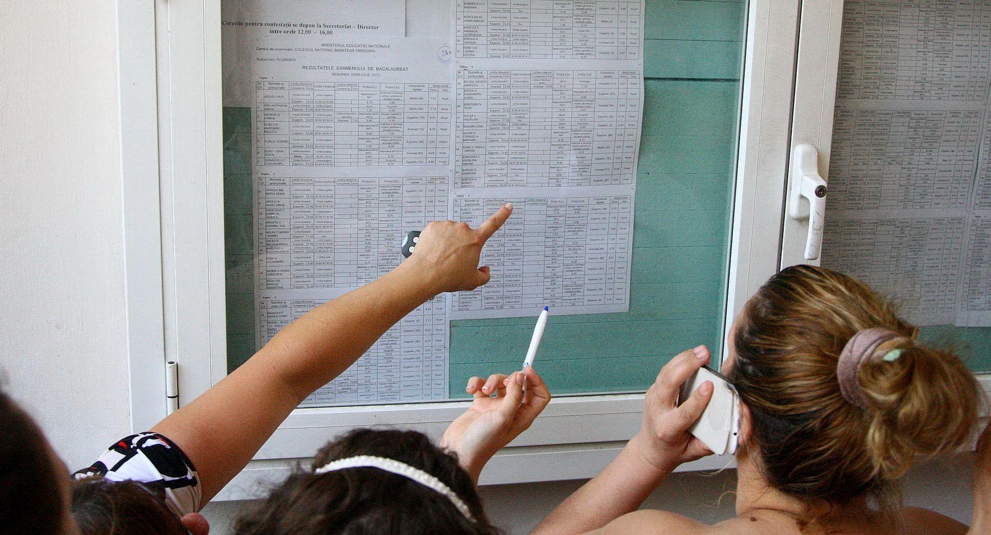 Elevi care se uită la rezultatele de la examene la un afișier.