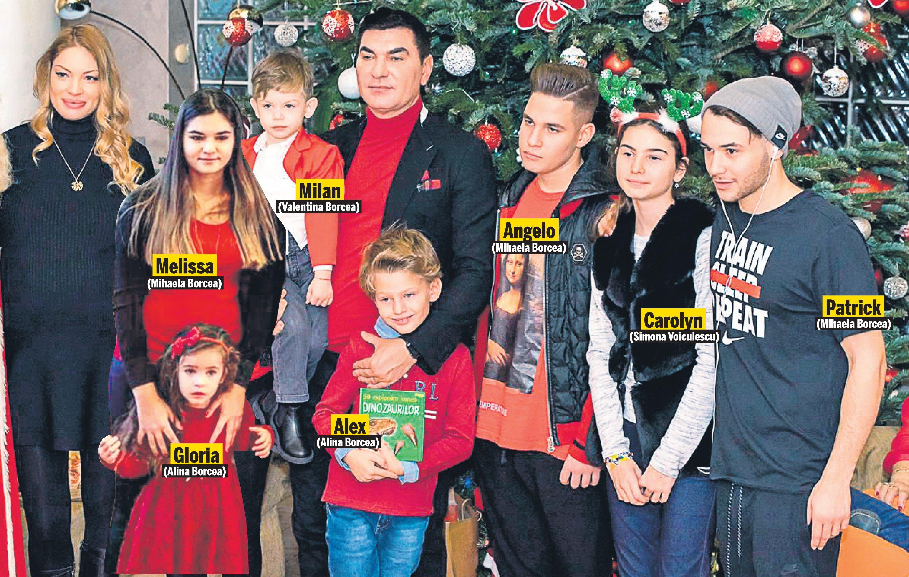 7 dintre cei 9 copii ai lui Borcea, alături de Cristi Borcea și Valentina Pelinel.