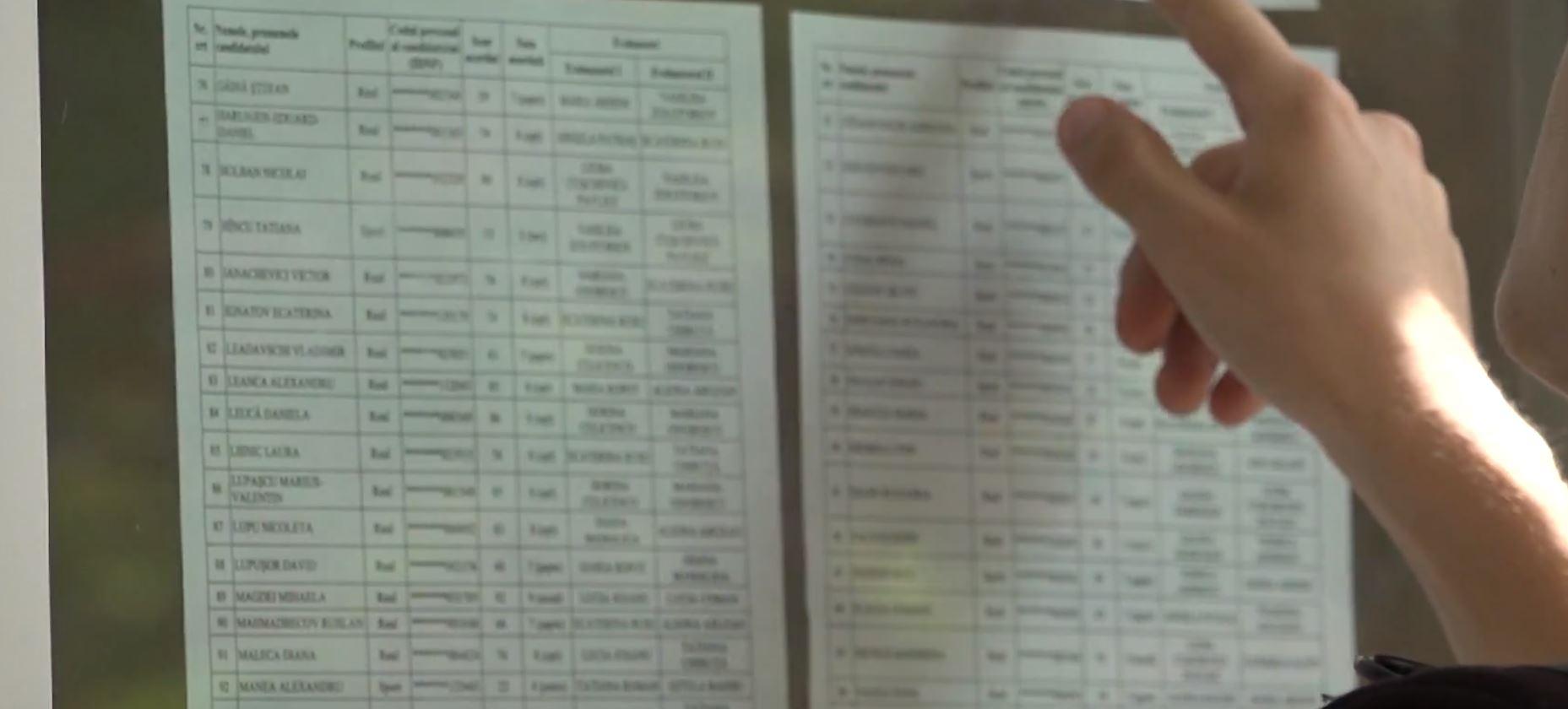 Liste cu rezultate la examen.