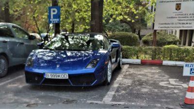 Finul lui Valentin Dragnea, parcare pe locul rezervat persoanelor cu handicap. Are un Lamborghini de 150.000 de euro