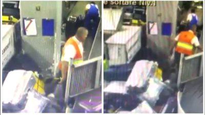 Bagajele călătorilor aruncate pe jos de operatorii de pe Aeroportul Otopeni. Imagini revoltătoare
