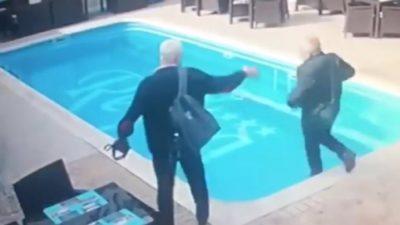 Viral cu un inspector ANAF, la Constanța. Cum a căzut în piscina restaurantului pe care îl verifica