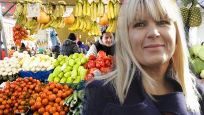 Cum a mers Elena Udrea îmbrăcată la piață. A purtat o geantă de 5.000 de euro pe braț