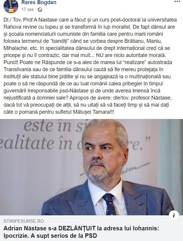 Postarea făcută de Rareș Bogdan pe pagina sa de Facebook