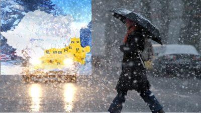 Prognoza meteo, revizuită pentru București. Frig și lapoviță, noaptea, iar ziua nu vom scăpa de ploi