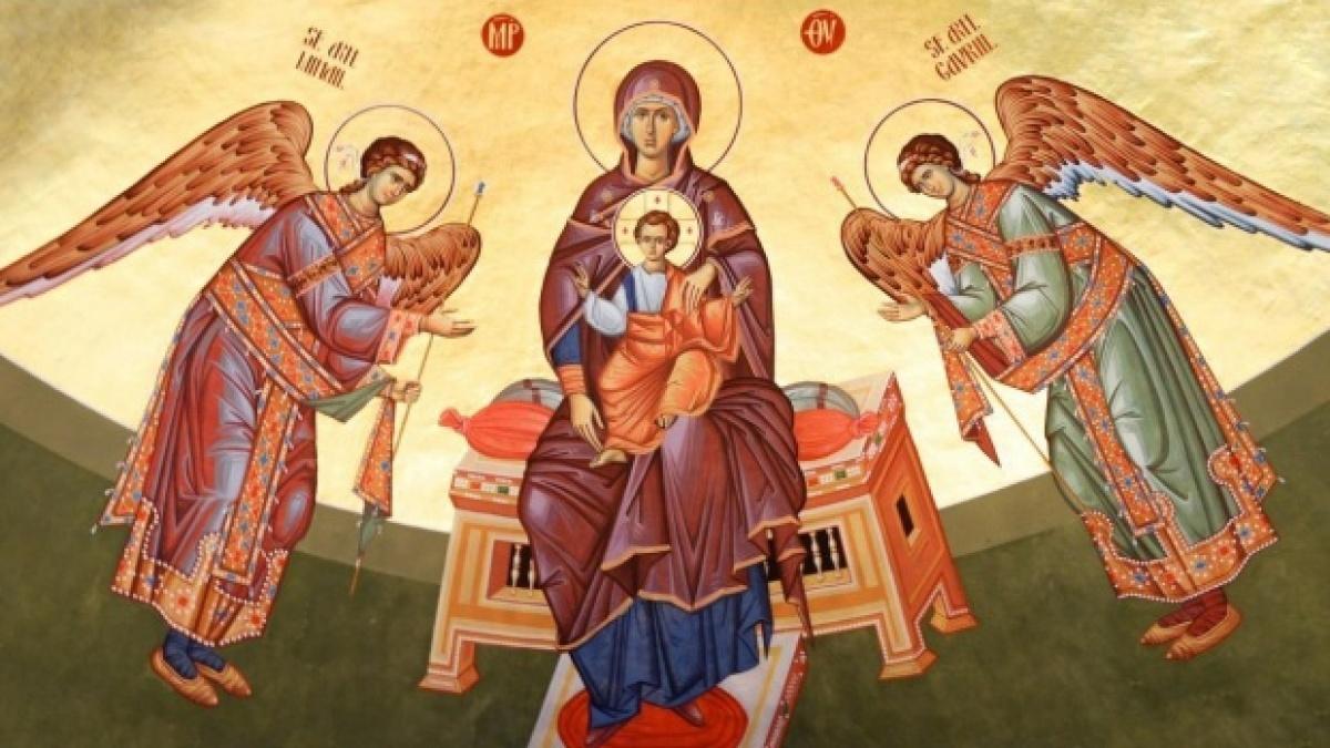Pictură cu sfinții Mihail și Gavril.