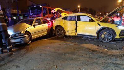 Accident în Ferentari între un Lamborghini și un BMW. Cum arată mașinile după impactul devastator FOTO