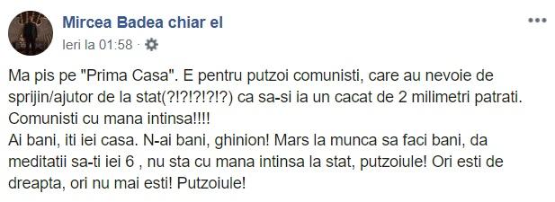 Captură Facebook Mircea Badea chiar el