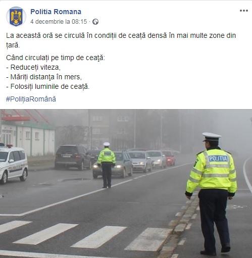 Mesajul postat de Poliția Română pentru șoferi