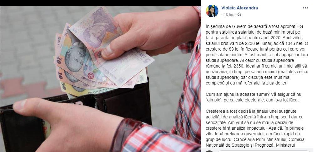 Răspunsul Violetei Alexandru referitor la creșterea salariului minim.