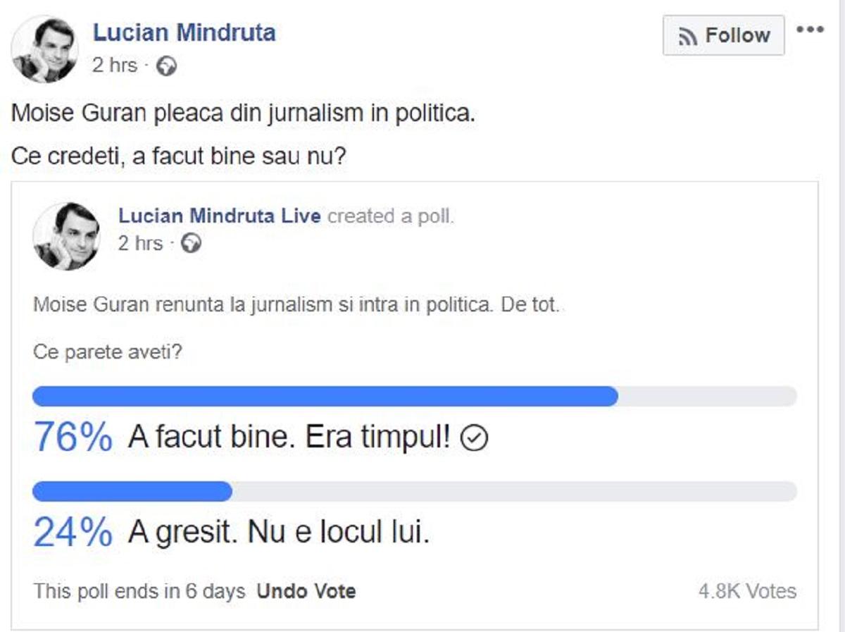 """Cum a reacționat Lucian Mîndruță, când a văzut că Moise Guran a intrat în politică. """"A făcut bine sau nu?"""""""