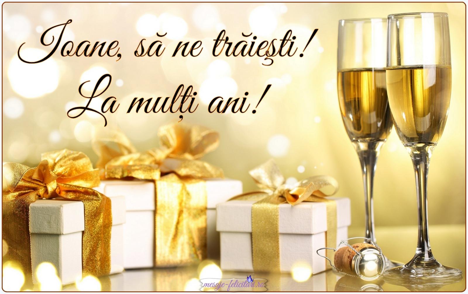Felicitare pe care scrie La mulți ani de Sfântul Ioan.