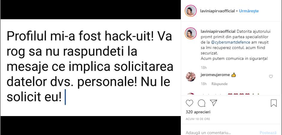 Lavinia Pîrva, avertisment pe internet. Soția lui Ștefan Bănică Jr, implicată într-o înșelătorie