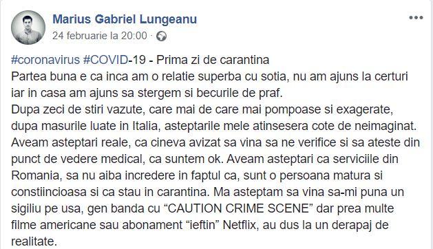 """Ce a pățit Marius, un român care s-a autoizolat cu soția după ce a venit din Italia. """"Pană la această oră, 121 convorbiri avute"""""""