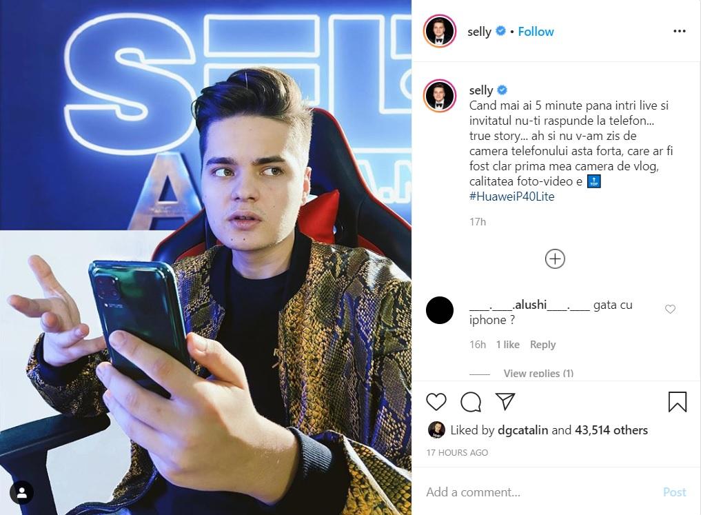 În ceea ce privește telefonul pentru filmări, Selly recomandă HuaweiP40Lite
