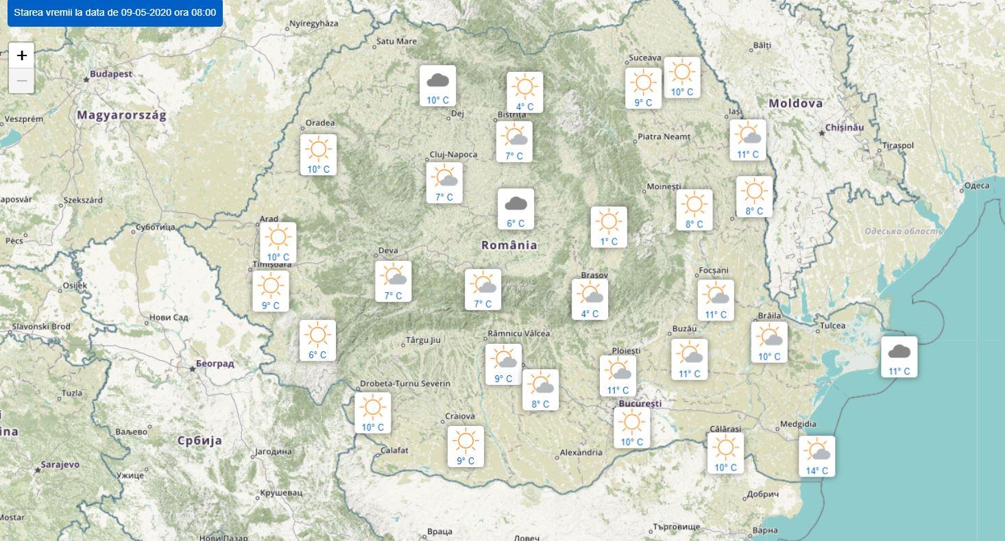 Informații ANM. Prognoza meteo, sâmbătă, 9 mai: maxime de 25 de grade și ceață