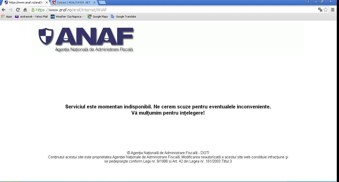 Site-ul Anaf nu va funcționa luni, 8 iunie, timp de 3 ore