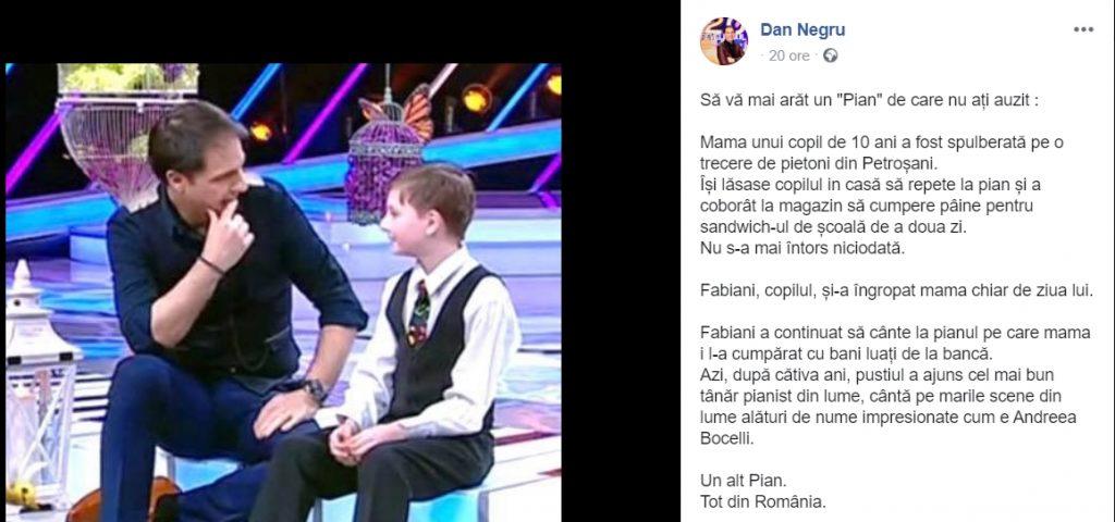 """Dan Negru, mesaj uimitor """"Să vă mai arăt un Pian de care nu ați auzit"""". Cine e Fabiani"""