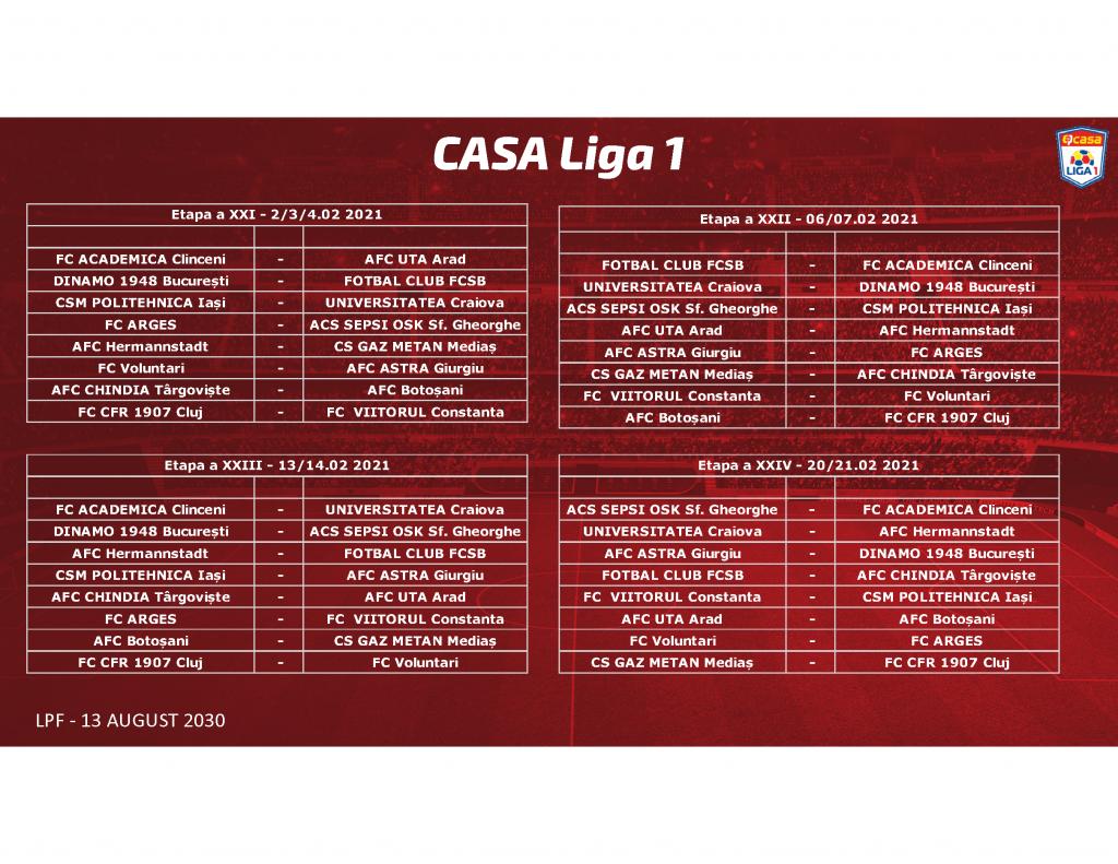 Program Liga 1 2020/2021. Când se dispută derby-urile Dinamo – FCSB și CFR – FCSB