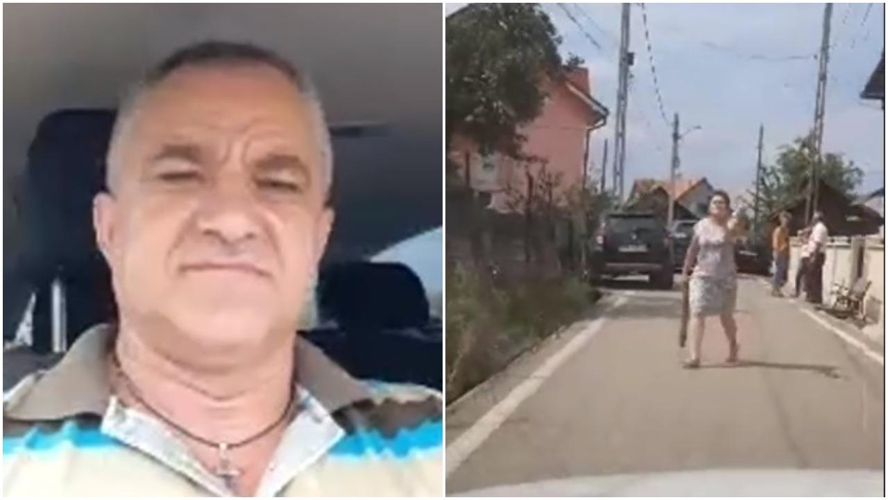 Un bărbat în mașină și o femeie pe stradă cu scândură în mână