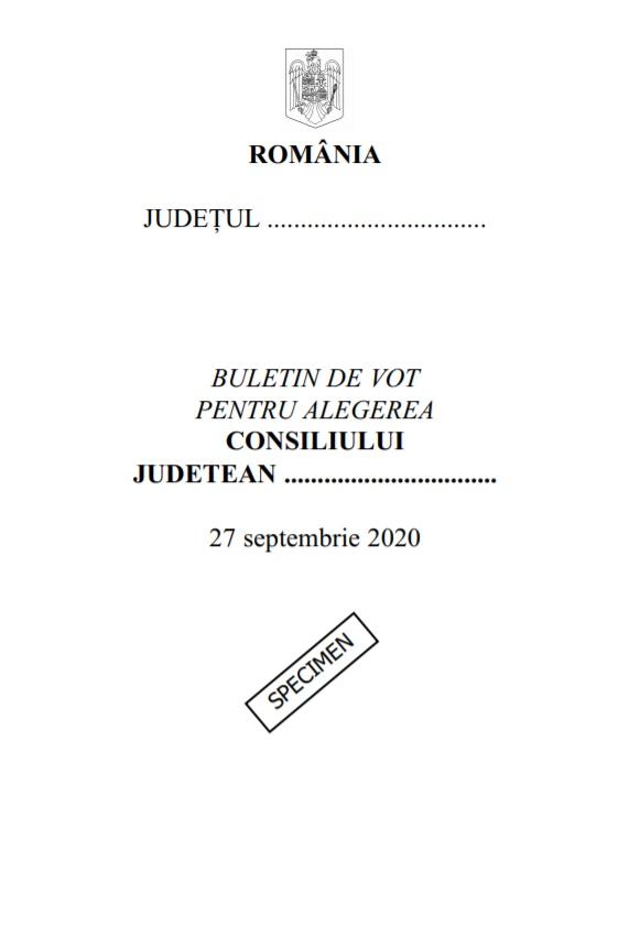 Model de buletin de vot pentru alegerea consiliilor județene