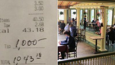 Un client a lăsat 1.000 de dolari bacșiș la un restaurant. De ce a făcut, de fapt, gestul incredibil