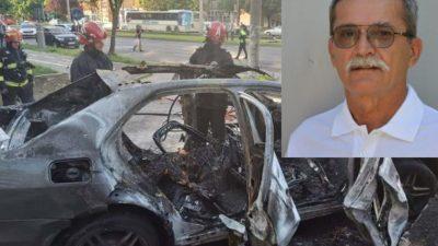 Imagini video de după explozia mașinii din Arad. Ce detaliu a surprins cameramanul