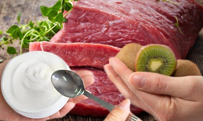 A pus iaurt și kiwi peste carnea crudă și a lăsat-o în frigider, la rece. Ce s-a întâmplat în câteva ore este uimitor