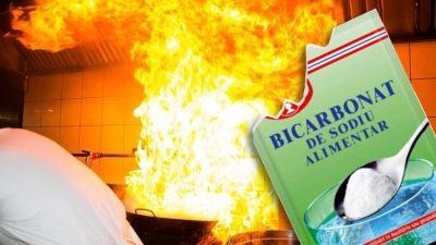 Ce se întâmplă dacă arunci bicarbonat de sodiu în foc. Trucul genial pentru orice bucătar