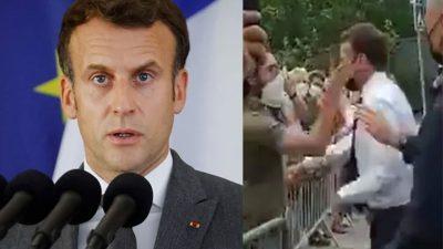 Reacția lui Emmanuel Macron după ce a fost pălmuit de un protestatar. Ce a spus președintele Franței VIDEO