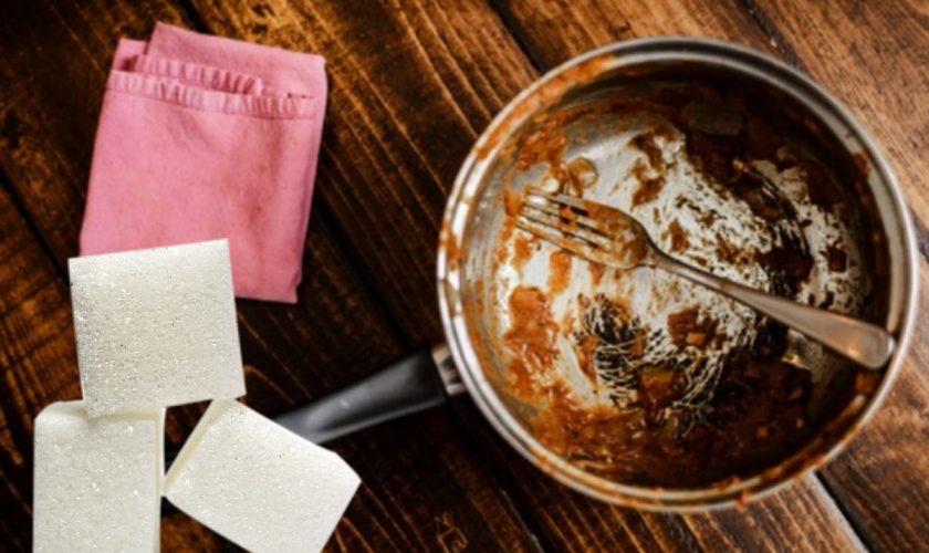 Și-a frecat tigaia cu 2-3 cuburi de zahăr și a rămas uimit de rezultat. Ce truc genial și rapid
