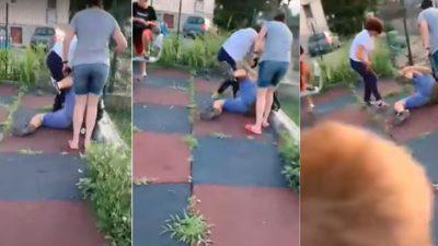 Video. Scene barbare într-un loc de joacă din Eforie Nord. Copil de 12 ani, bătut cu sălbăticie și izbit la pământ de două mame