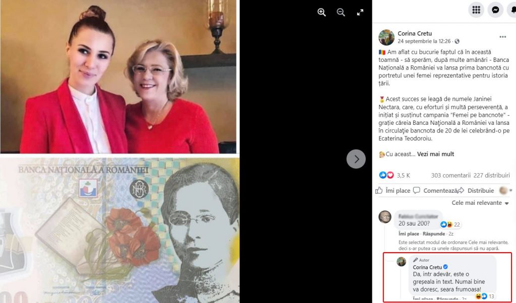 Greseala Corina Cretu bagnota 20 de lei Ecaterina Teodoroiu BNR corectie