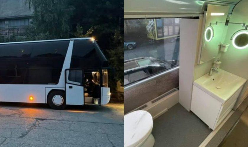 Hotel de lux pe roți la Brașov, transformat dintr-un autobuz. Are 10 paturi, două băi, și a costat o avere