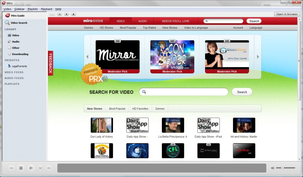 player, Miro, player web, HD player, Miro HD, BitTorrent, client BitTorrent integrat, BitTorrent RSS