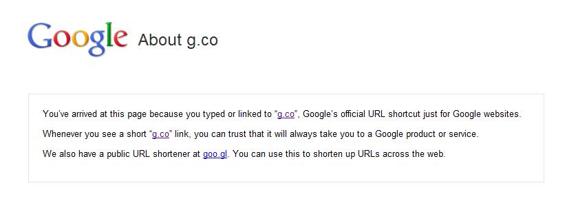 g.co scurteaza link-uri catre serviciile Google