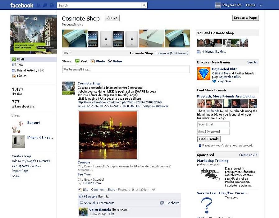 Concursul Cosmote Shop – un alt fals pe Facebook