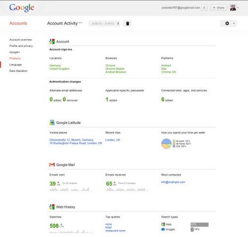 Google iti permite sa-ti analizezi propria activitate online