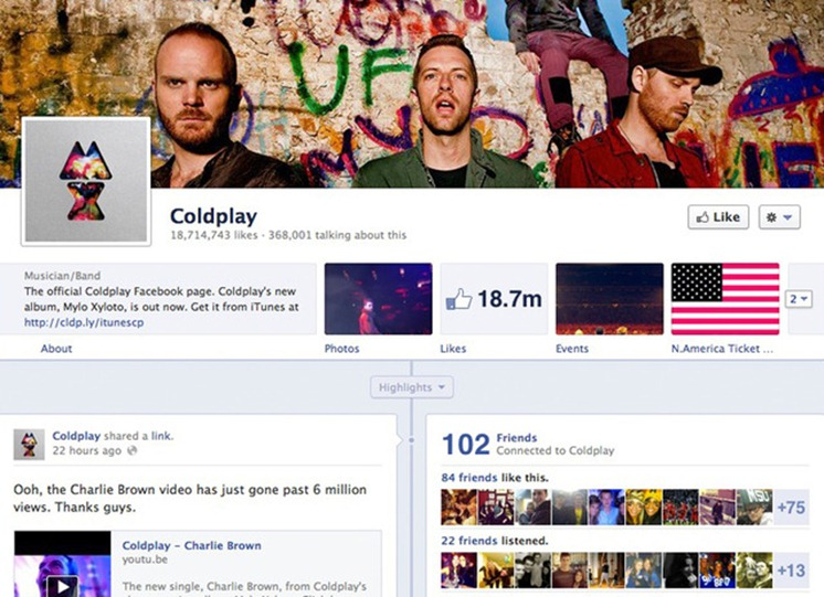 Coldplay Facebook