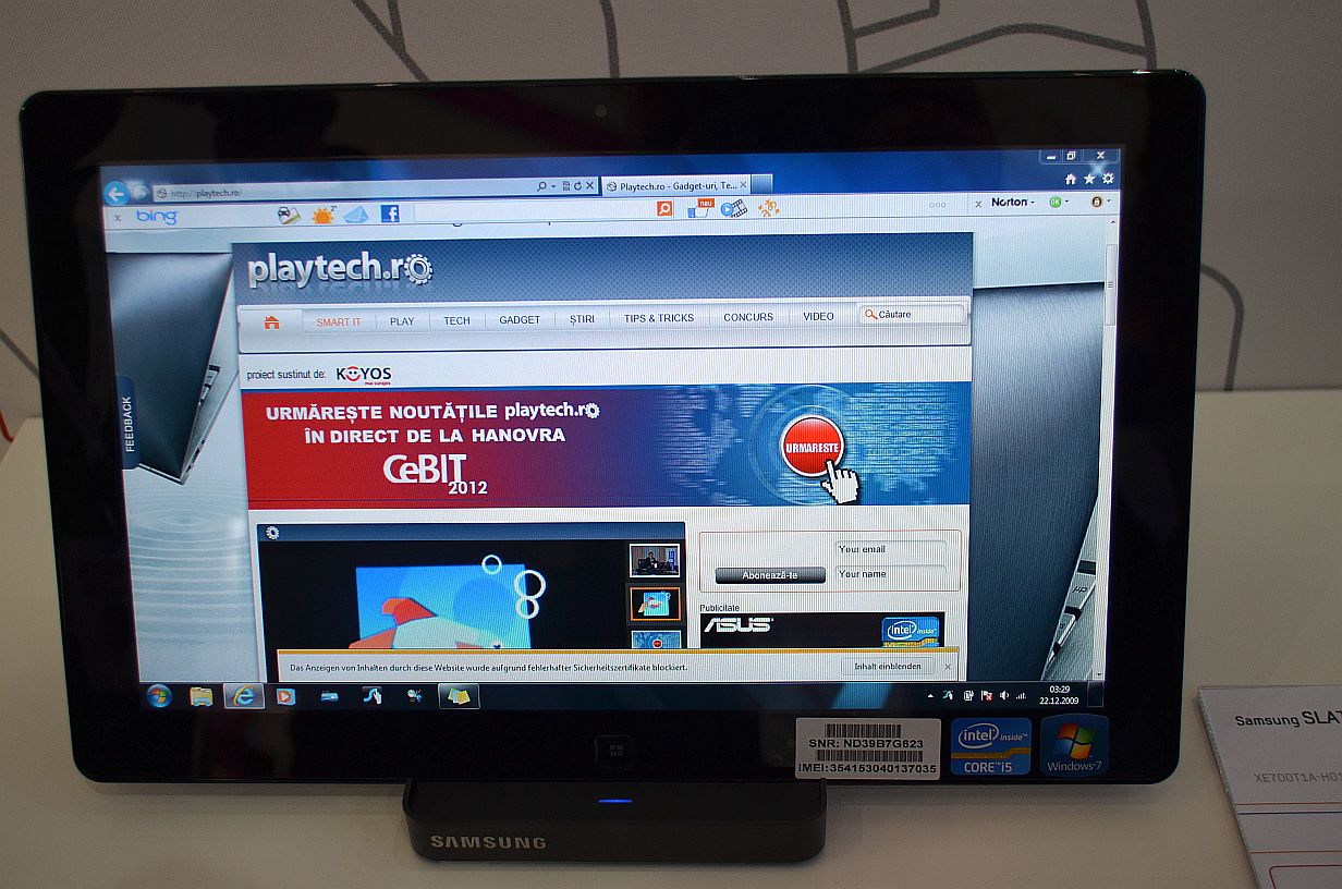 Windows 7 pe tableta: Samsung Slate 7 in hands-on la CeBIT 2012 [+VIDEO]