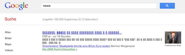 Jurnalistii germanii vor bani din stirile afisate pe Google