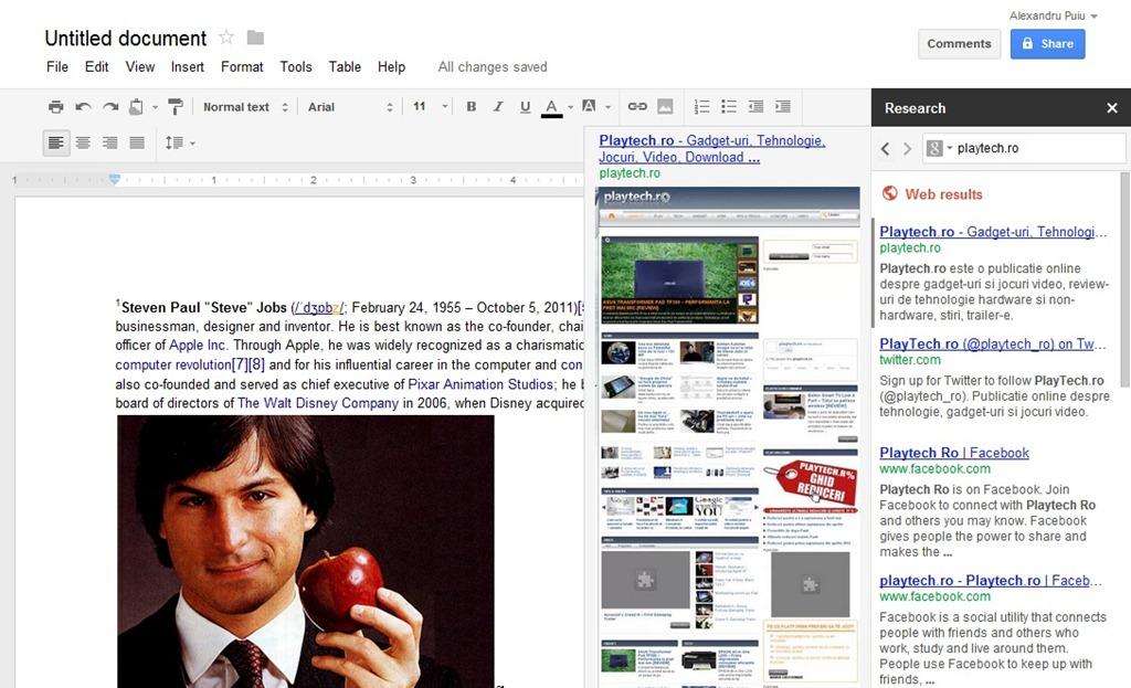 Google Docs primeste un upgrade util: Research