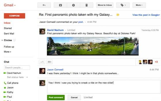 Gmail strange legaturile cu Google+