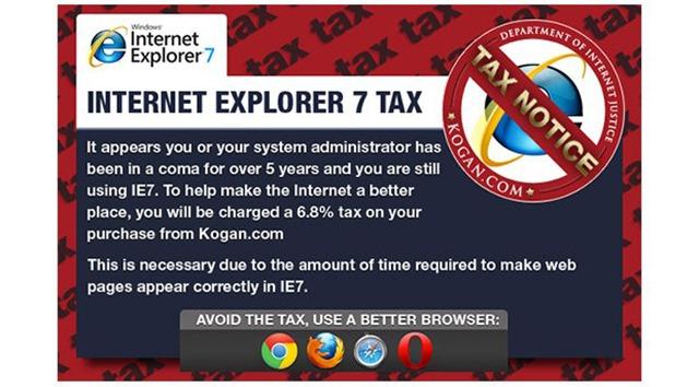 Un magazin online din Anglia taxeaza utilizatorii de IE 7, la propriu